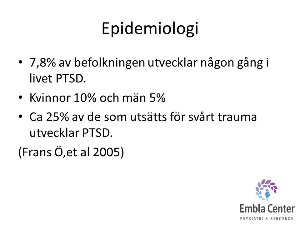 Epidemiologi 7,8% av befolkningen utvecklar någon gång i livet PTSD. Kvinnor 10% och män 5% Ca 25% av de som utsätts för svårt trauma utvecklar PTSD.