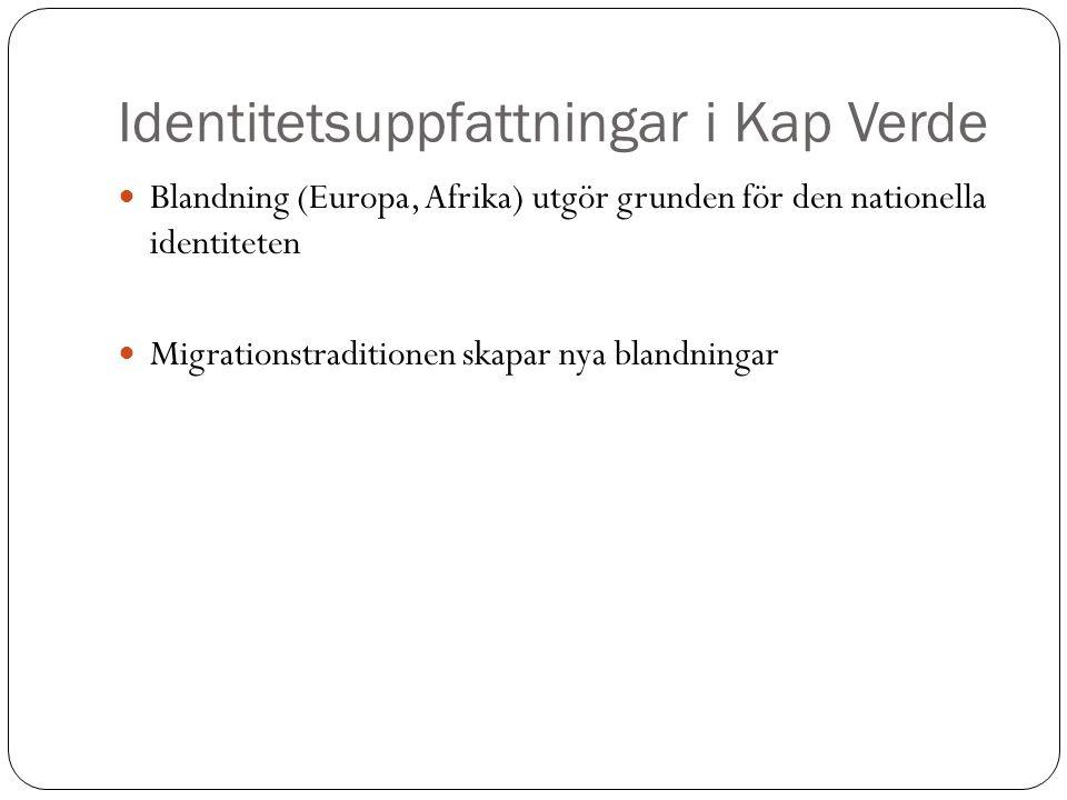 Identitetsuppfattningar i Kap Verde Blandning (Europa, Afrika) utgör grunden för den nationella identiteten Migrationstraditionen skapar nya blandning