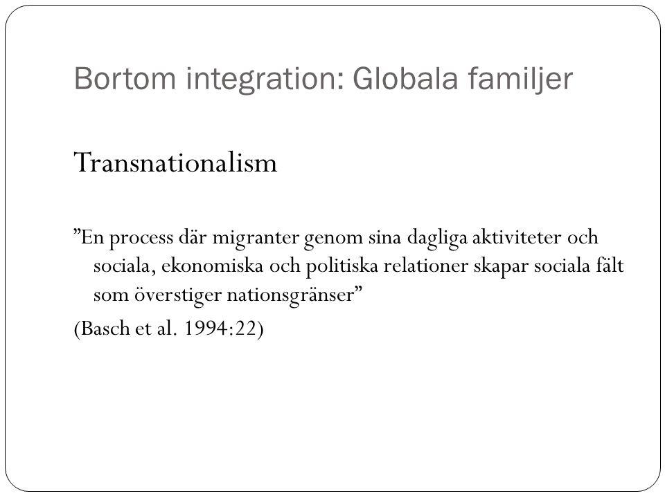 """Bortom integration: Globala familjer Transnationalism """"En process där migranter genom sina dagliga aktiviteter och sociala, ekonomiska och politiska r"""
