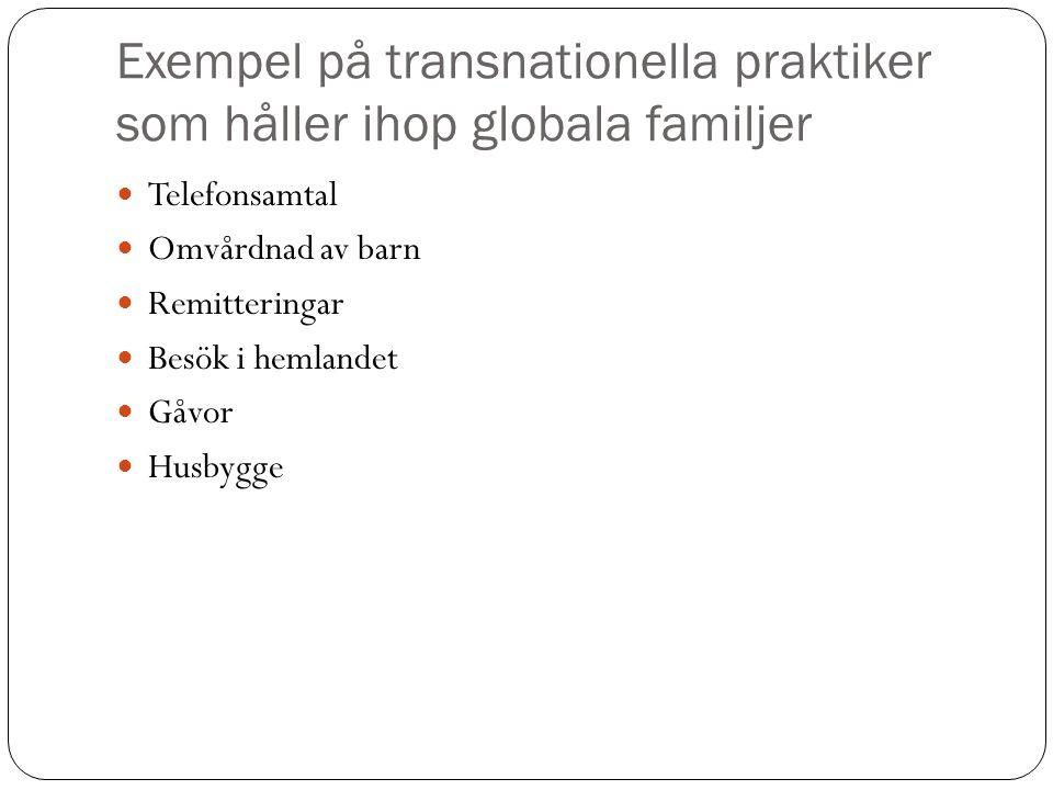 Exempel på transnationella praktiker som håller ihop globala familjer Telefonsamtal Omvårdnad av barn Remitteringar Besök i hemlandet Gåvor Husbygge