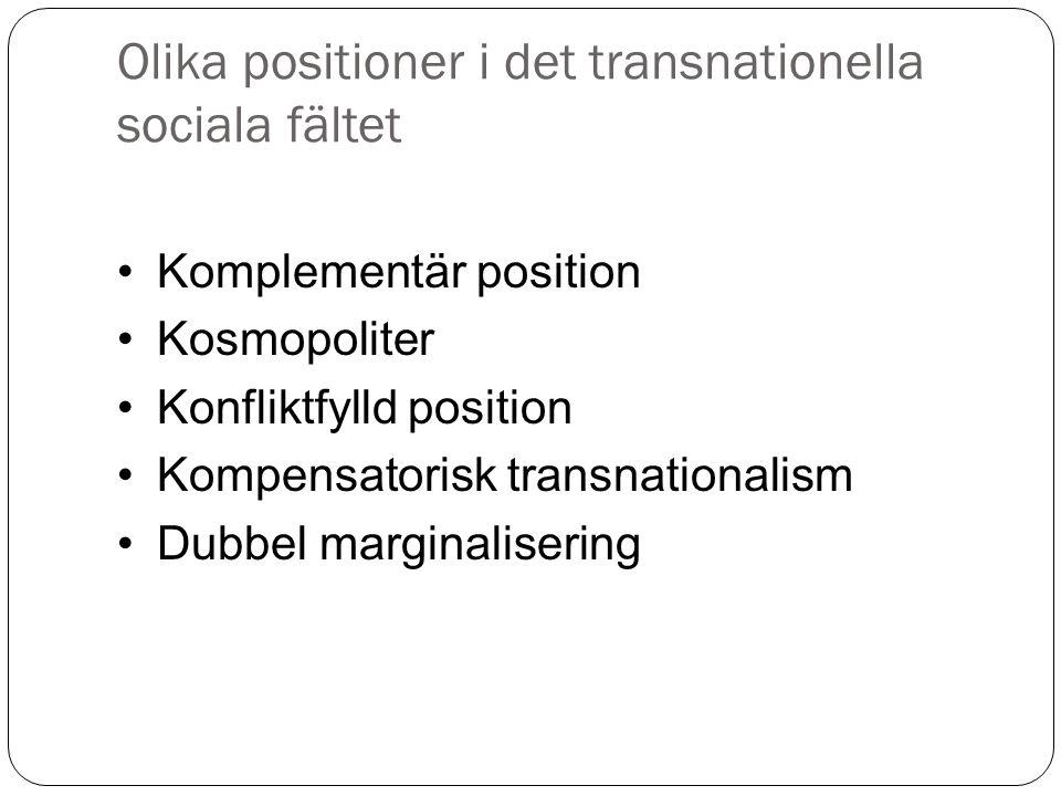 Olika positioner i det transnationella sociala fältet Komplementär position Kosmopoliter Konfliktfylld position Kompensatorisk transnationalism Dubbel