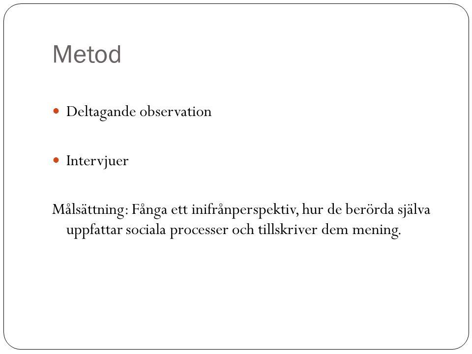 Metod Deltagande observation Intervjuer Målsättning: Fånga ett inifrånperspektiv, hur de berörda själva uppfattar sociala processer och tillskriver de
