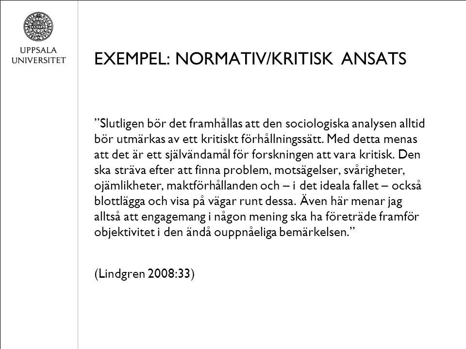 """EXEMPEL: NORMATIV/KRITISK ANSATS """"Slutligen bör det framhållas att den sociologiska analysen alltid bör utmärkas av ett kritiskt förhållningssätt. Med"""