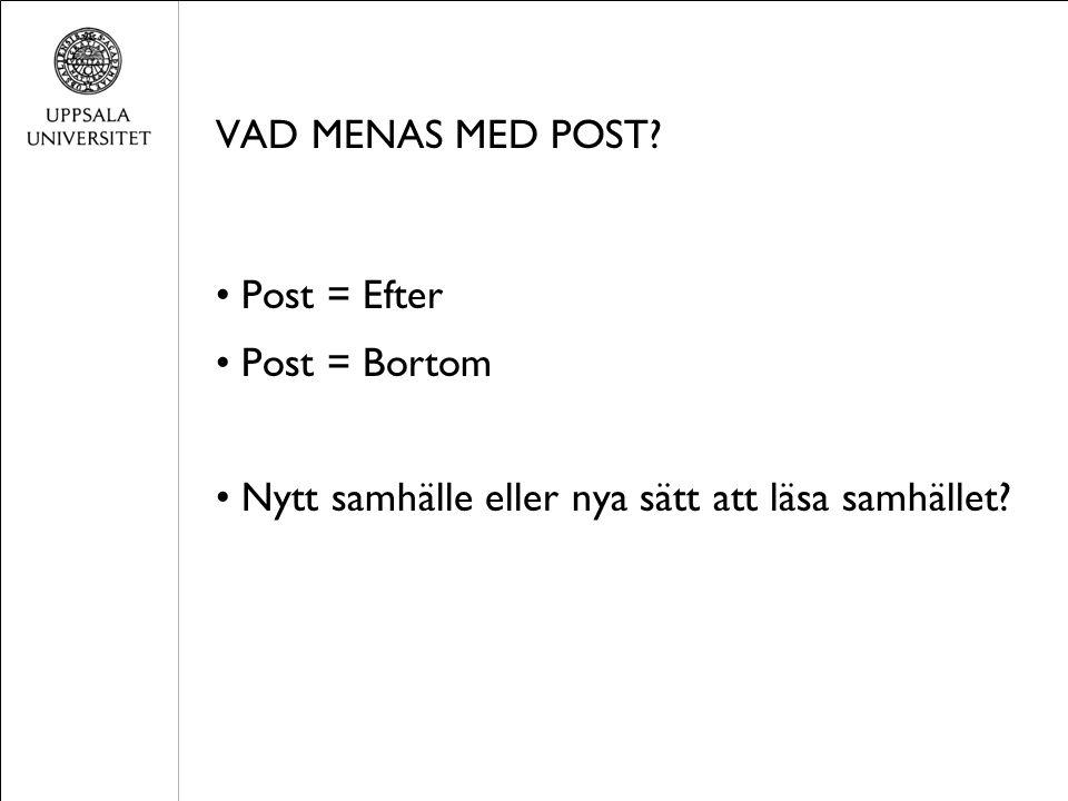 VAD MENAS MED POST? Post = Efter Post = Bortom Nytt samhälle eller nya sätt att läsa samhället?