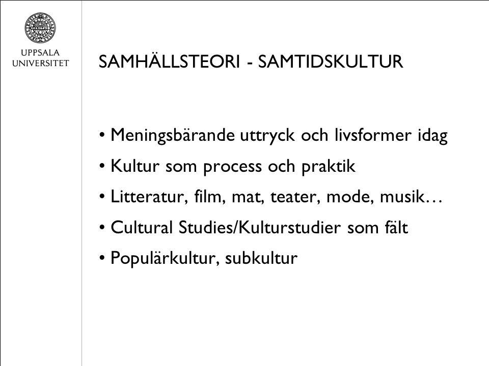 SAMHÄLLSTEORI - SAMTIDSKULTUR Meningsbärande uttryck och livsformer idag Kultur som process och praktik Litteratur, film, mat, teater, mode, musik… Cu