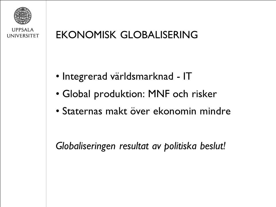 EKONOMISK GLOBALISERING Integrerad världsmarknad - IT Global produktion: MNF och risker Staternas makt över ekonomin mindre Globaliseringen resultat av politiska beslut!