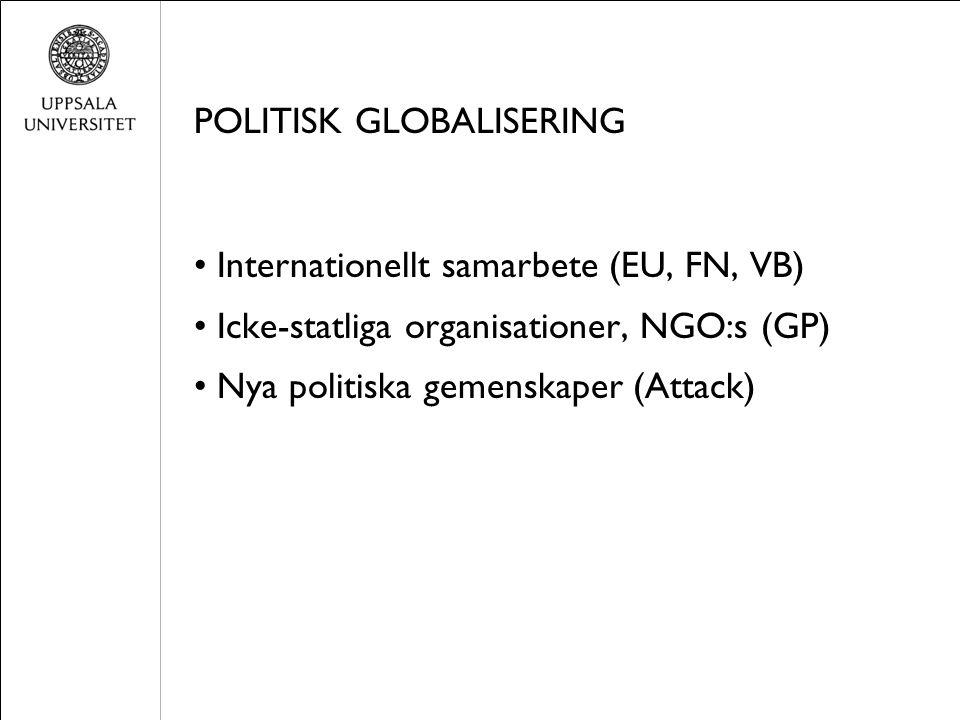 POLITISK GLOBALISERING Internationellt samarbete (EU, FN, VB) Icke-statliga organisationer, NGO:s (GP) Nya politiska gemenskaper (Attack)