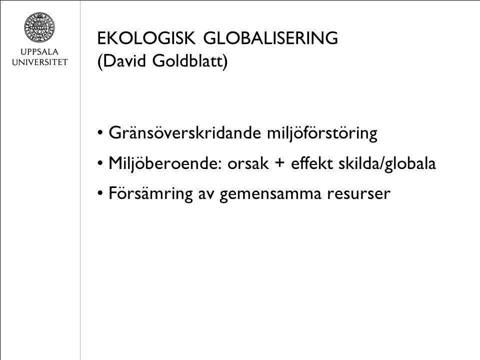 EKOLOGISK GLOBALISERING (David Goldblatt) Gränsöverskridande miljöförstöring Miljöberoende: orsak + effekt skilda/globala Försämring av gemensamma resurser