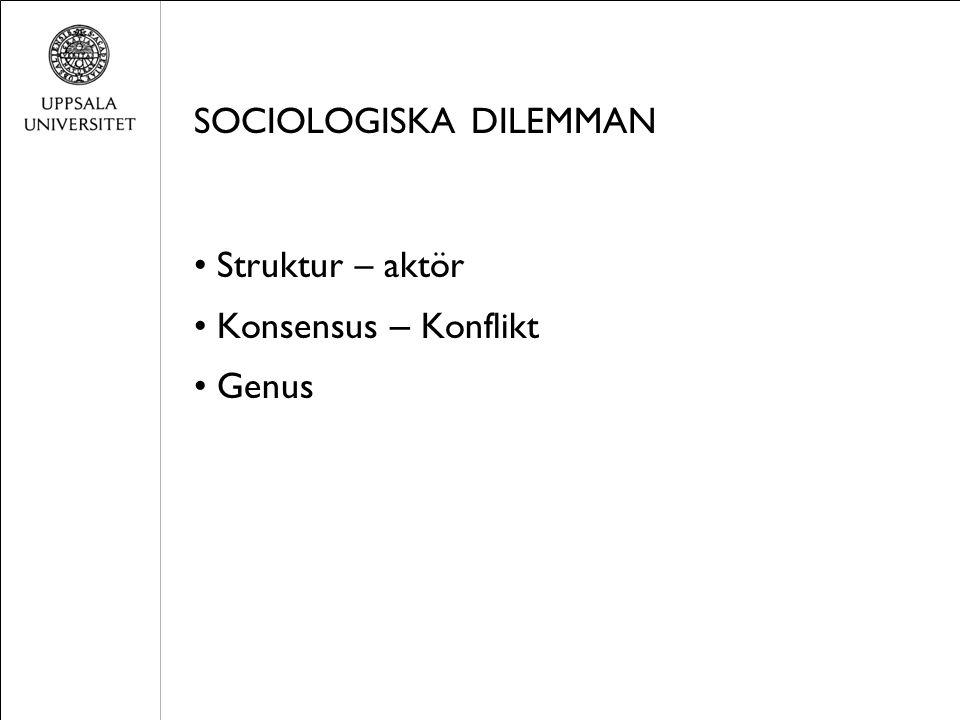 SOCIOLOGISKA DILEMMAN Struktur – aktör Konsensus – Konflikt Genus