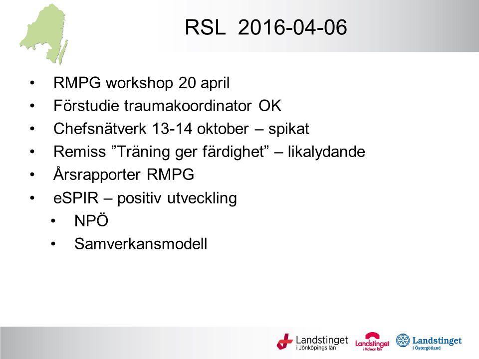 RSL 2016-04-06 RMPG workshop 20 april Förstudie traumakoordinator OK Chefsnätverk 13-14 oktober – spikat Remiss Träning ger färdighet – likalydande Årsrapporter RMPG eSPIR – positiv utveckling NPÖ Samverkansmodell