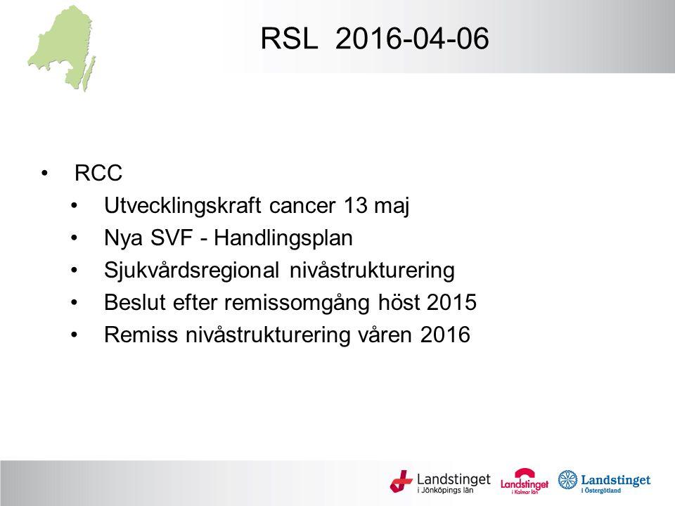 RSL 2016-04-06 RCC Utvecklingskraft cancer 13 maj Nya SVF - Handlingsplan Sjukvårdsregional nivåstrukturering Beslut efter remissomgång höst 2015 Remiss nivåstrukturering våren 2016