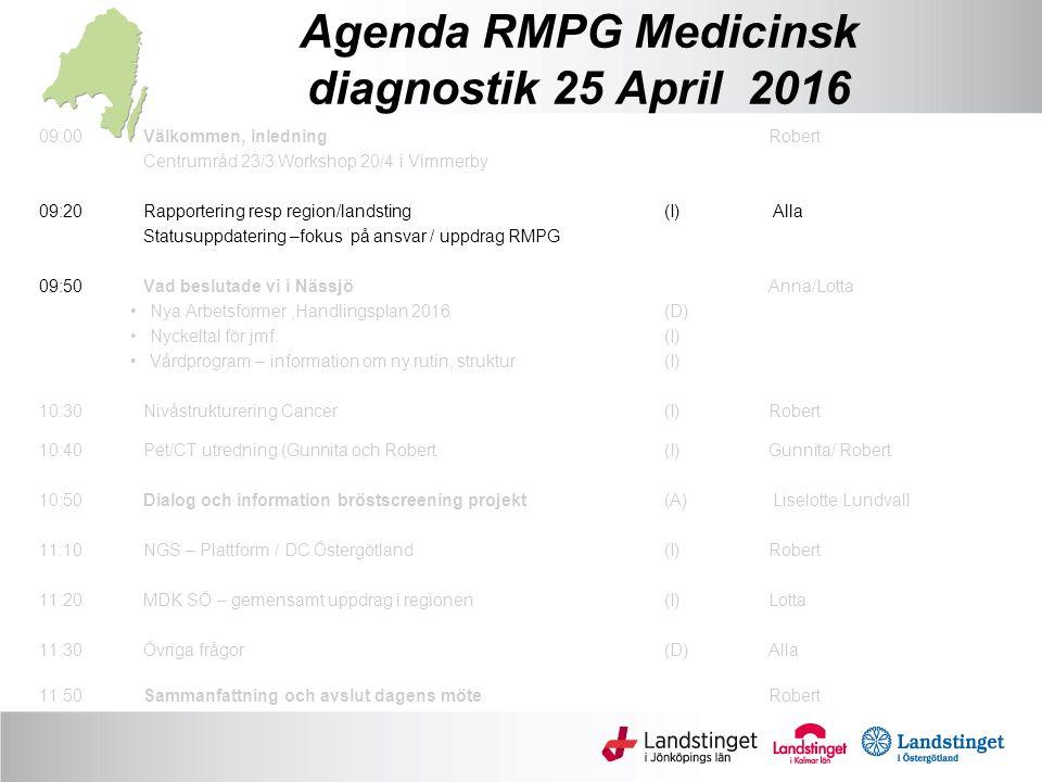 Agenda RMPG Medicinsk diagnostik 25 April 2016 09:00Välkommen, inledningRobert Centrumråd 23/3 Workshop 20/4 i Vimmerby 09:20 Rapportering resp region