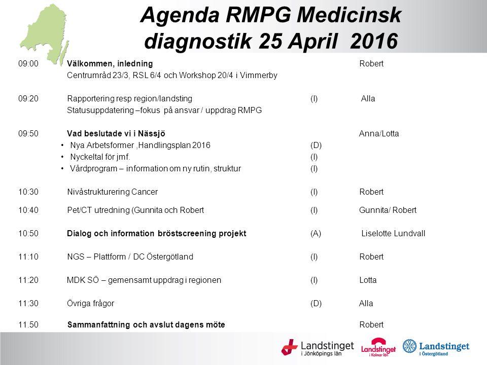 Agenda RMPG Medicinsk diagnostik 25 April 2016 09:00Välkommen, inledningRobert Centrumråd 23/3, RSL 6/4 och Workshop 20/4 i Vimmerby 09:20 Rapportering resp region/landsting (I) Alla Statusuppdatering –fokus på ansvar / uppdrag RMPG 09:50 Vad beslutade vi i Nässjö Anna/Lotta Nya Arbetsformer,Handlingsplan 2016 (D) Nyckeltal för jmf.