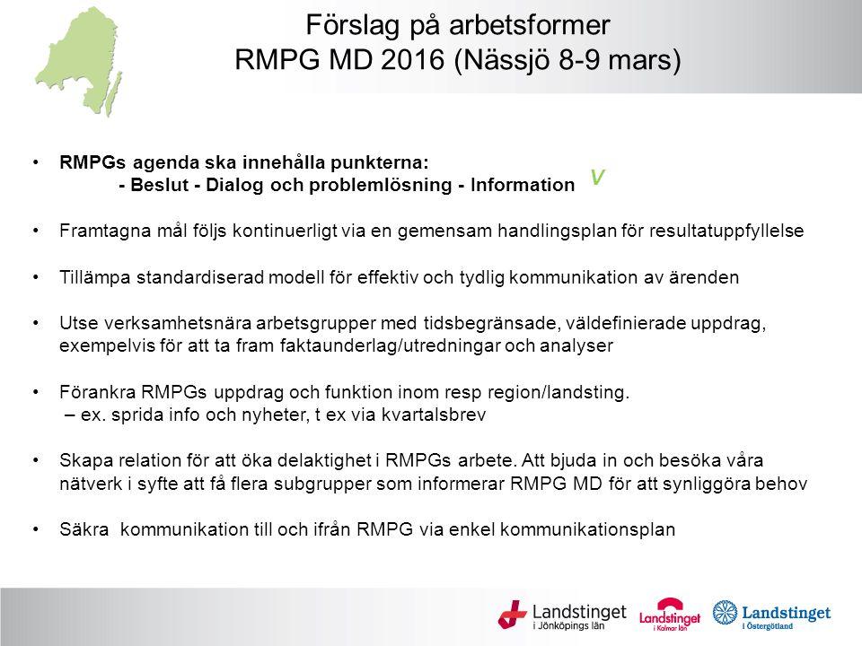 Förslag på arbetsformer RMPG MD 2016 (Nässjö 8-9 mars) RMPGs agenda ska innehålla punkterna: - Beslut - Dialog och problemlösning - Information Framtagna mål följs kontinuerligt via en gemensam handlingsplan för resultatuppfyllelse Tillämpa standardiserad modell för effektiv och tydlig kommunikation av ärenden Utse verksamhetsnära arbetsgrupper med tidsbegränsade, väldefinierade uppdrag, exempelvis för att ta fram faktaunderlag/utredningar och analyser Förankra RMPGs uppdrag och funktion inom resp region/landsting.