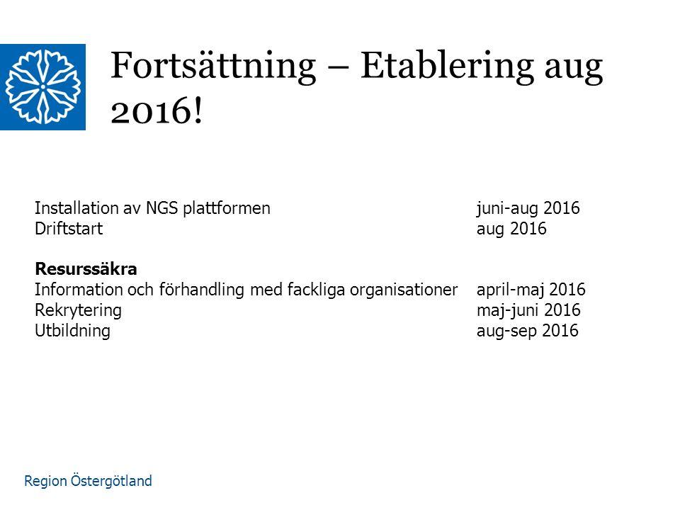 Region Östergötland Fortsättning – Etablering aug 2016! Installation av NGS plattformen juni-aug 2016 Driftstartaug 2016 Resurssäkra Information och f