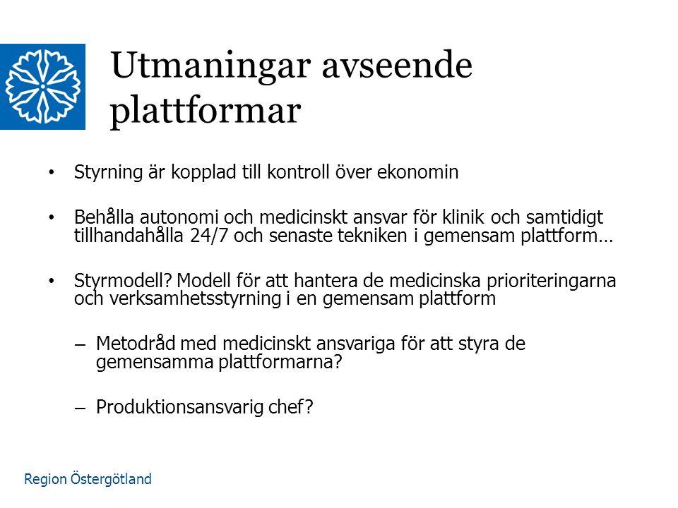 Region Östergötland Styrning är kopplad till kontroll över ekonomin Behålla autonomi och medicinskt ansvar för klinik och samtidigt tillhandahålla 24/7 och senaste tekniken i gemensam plattform… Styrmodell.