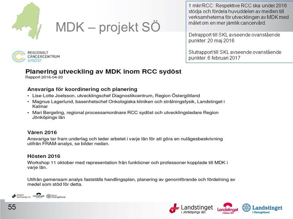 MDK – projekt SÖ 55 1 mkr/RCC: Respektive RCC ska under 2016 stödja och fördela huvuddelen av medlen till verksamheterna för utvecklingen av MDK med målet om en mer jämlik cancervård.