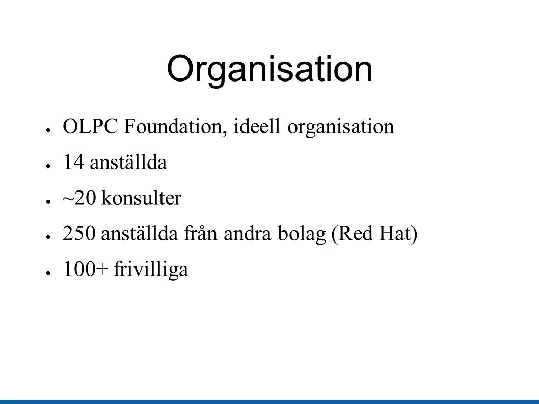 Organisation ● OLPC Foundation, ideell organisation ● 14 anställda ● ~20 konsulter ● 250 anställda från andra bolag (Red Hat) ● 100+ frivilliga