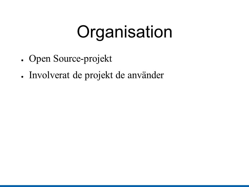 Organisation ● Open Source-projekt ● Involverat de projekt de använder