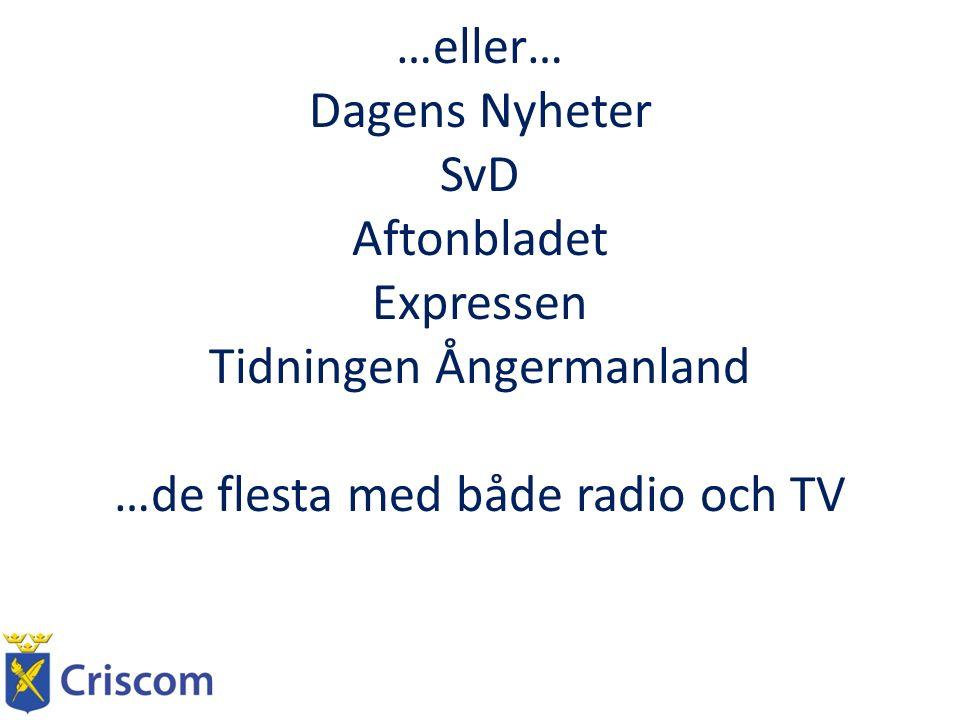 …eller… Dagens Nyheter SvD Aftonbladet Expressen Tidningen Ångermanland …de flesta med både radio och TV