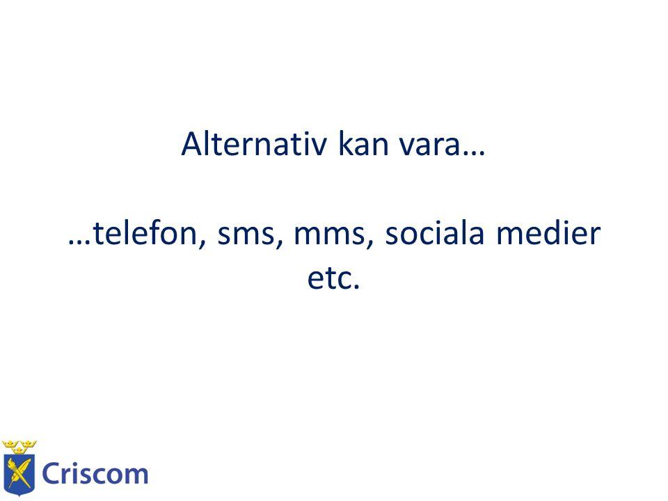 Alternativ kan vara… …telefon, sms, mms, sociala medier etc.