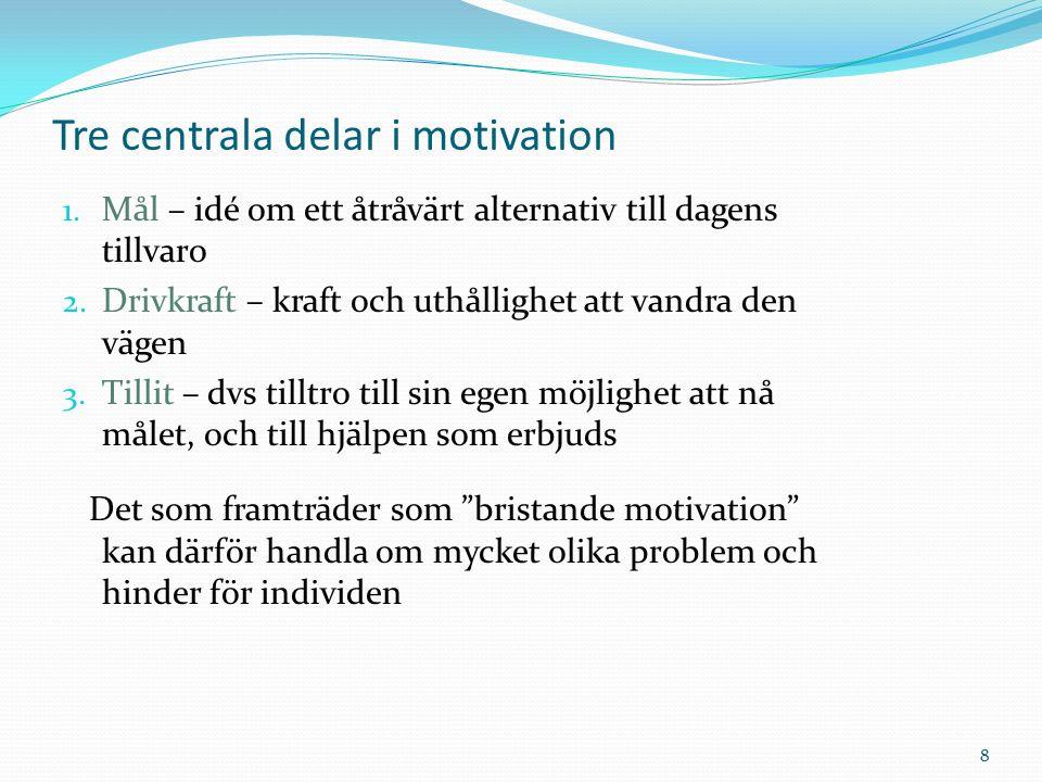 Motivation bestäms av: Avståndet till målet Uppnåendets värde Misslyckandets sannolikhet (Jenner, 1986)