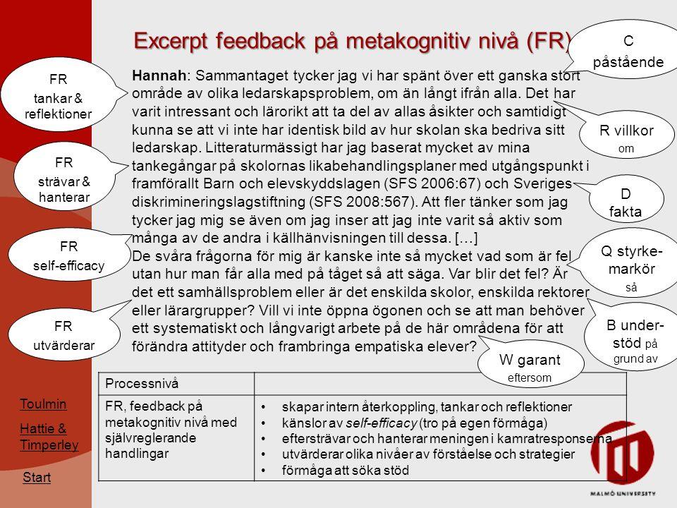 Excerpt feedback på metakognitiv nivå (FR) Start Hannah: Sammantaget tycker jag vi har spänt över ett ganska stort område av olika ledarskapsproblem, om än långt ifrån alla.
