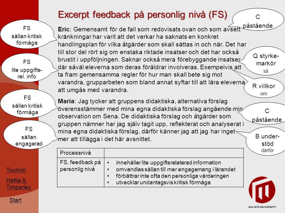 Excerpt feedback på personlig nivå (FS) Start Eric: Gemensamt för de fall som redovisats ovan och som avsett kränkningar har varit att det verkar ha saknats en konkret handlingsplan för vilka åtgärder som skall sättas in och när.