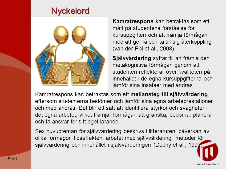 Nyckelord Kamratrespons kan betraktas som ett mått på studentens förståelse för kursuppgiften och att främja förmågan med att ge, få och ta till sig återkoppling (van der Pol et al., 2008).