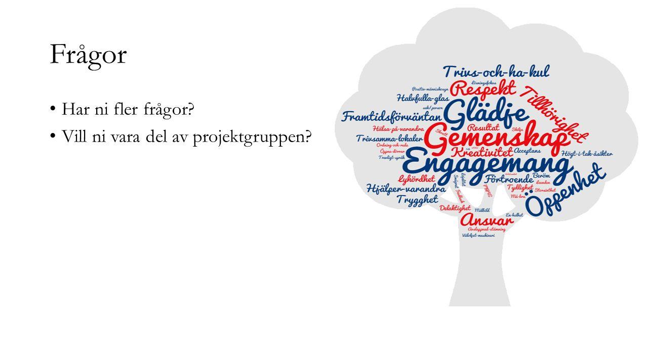 Frågor Har ni fler frågor? Vill ni vara del av projektgruppen?