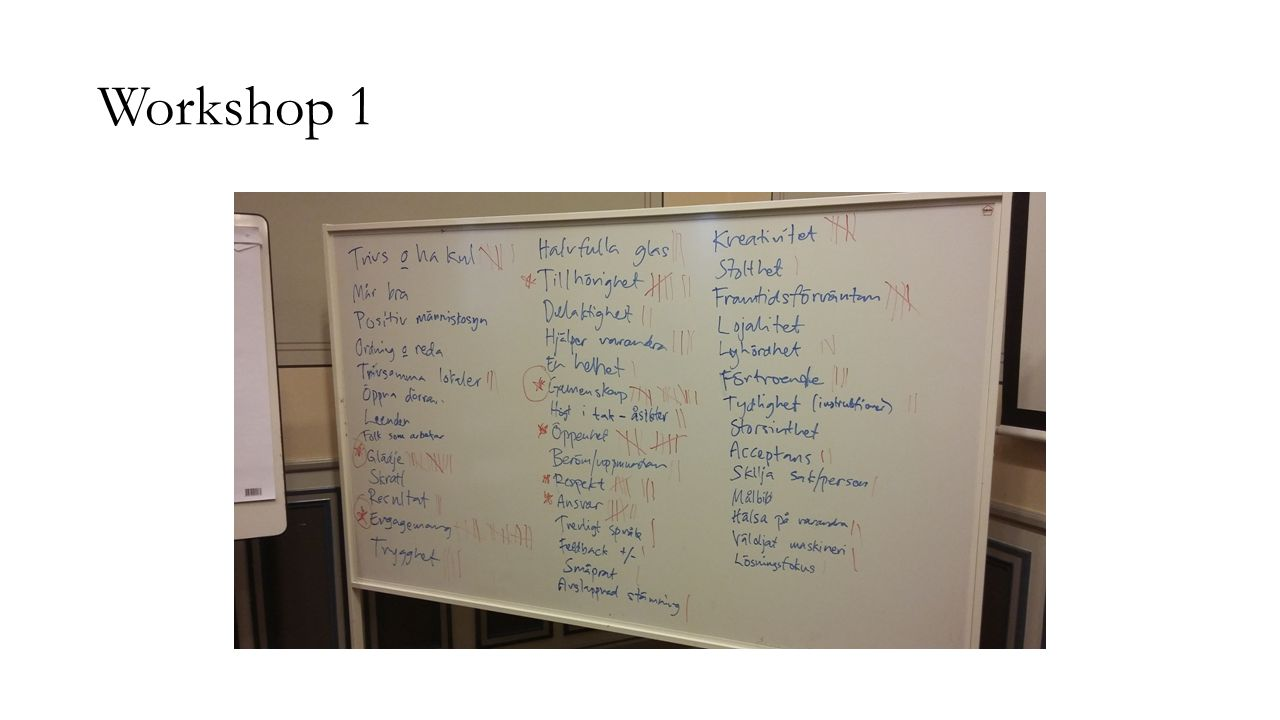 Utvärdering av workshops Överlag väldigt positiva tankar om dagarna.