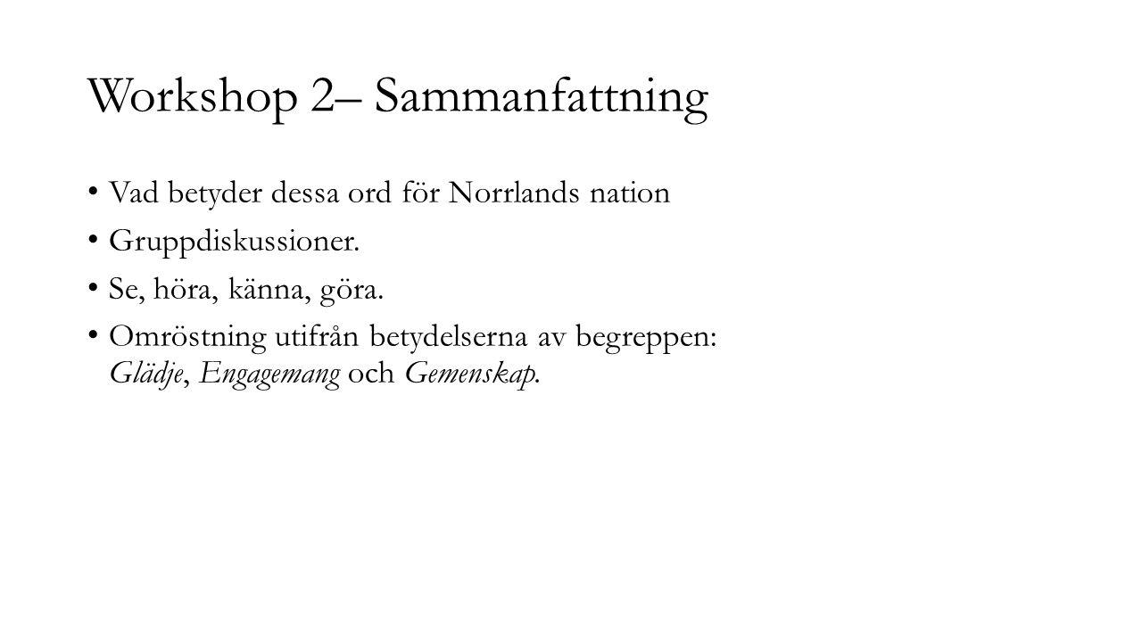 Workshop 2– Sammanfattning Vad betyder dessa ord för Norrlands nation Gruppdiskussioner. Se, höra, känna, göra. Omröstning utifrån betydelserna av beg