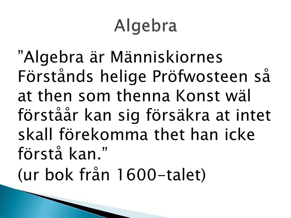 Algebra är Människiornes Förstånds helige Pröfwosteen så at then som thenna Konst wäl förståår kan sig försäkra at intet skall förekomma thet han icke förstå kan. (ur bok från 1600-talet)