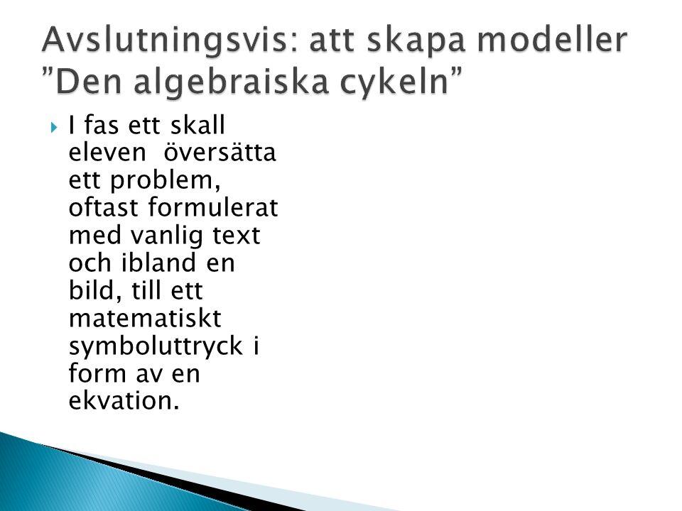  I fas ett skall eleven översätta ett problem, oftast formulerat med vanlig text och ibland en bild, till ett matematiskt symboluttryck i form av en ekvation.
