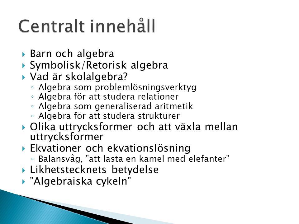  Barn och algebra  Symbolisk/Retorisk algebra  Vad är skolalgebra.