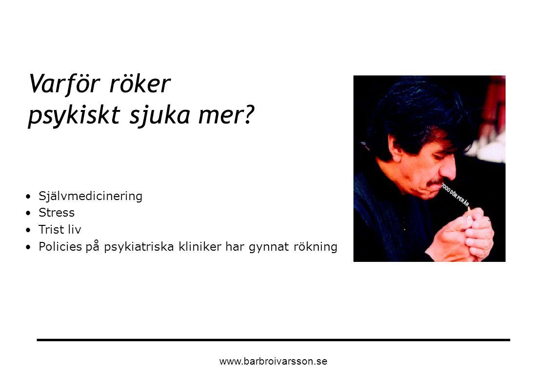 Självmedicinering Stress Trist liv Policies på psykiatriska kliniker har gynnat rökning Varför röker psykiskt sjuka mer? www.barbroivarsson.se