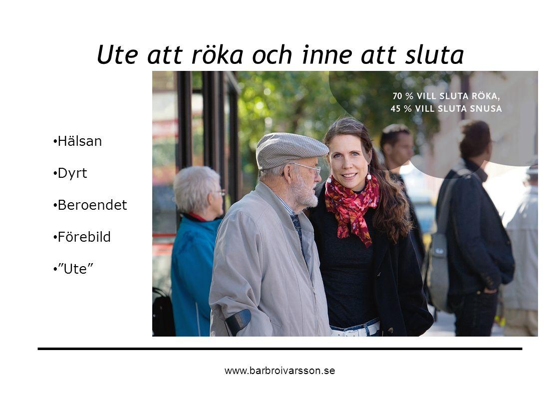 """Ute att röka och inne att sluta Hälsan Dyrt Beroendet Förebild """"Ute"""" www.barbroivarsson.se"""