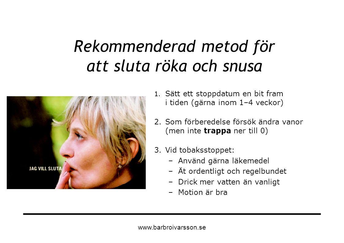 Rekommenderad metod för att sluta röka och snusa 1. Sätt ett stoppdatum en bit fram i tiden (gärna inom 1–4 veckor) 2.Som förberedelse försök ändra va