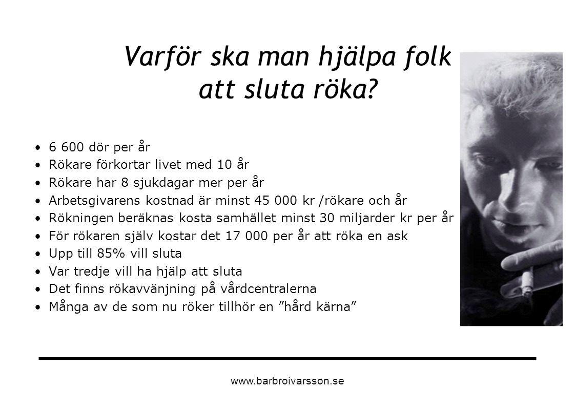 Mer information Barbro Holm Ivarsson Leg psykolog www.barbroivarsson.se www.psychologistsagainsttobacco.org www.barbroivarsson.se