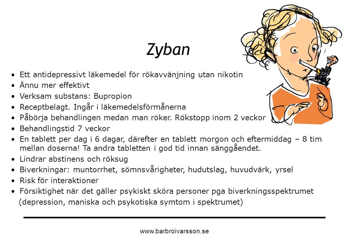 Zyban Ett antidepressivt läkemedel för rökavvänjning utan nikotin Ännu mer effektivt Verksam substans: Bupropion Receptbelagt. Ingår i läkemedelsförmå