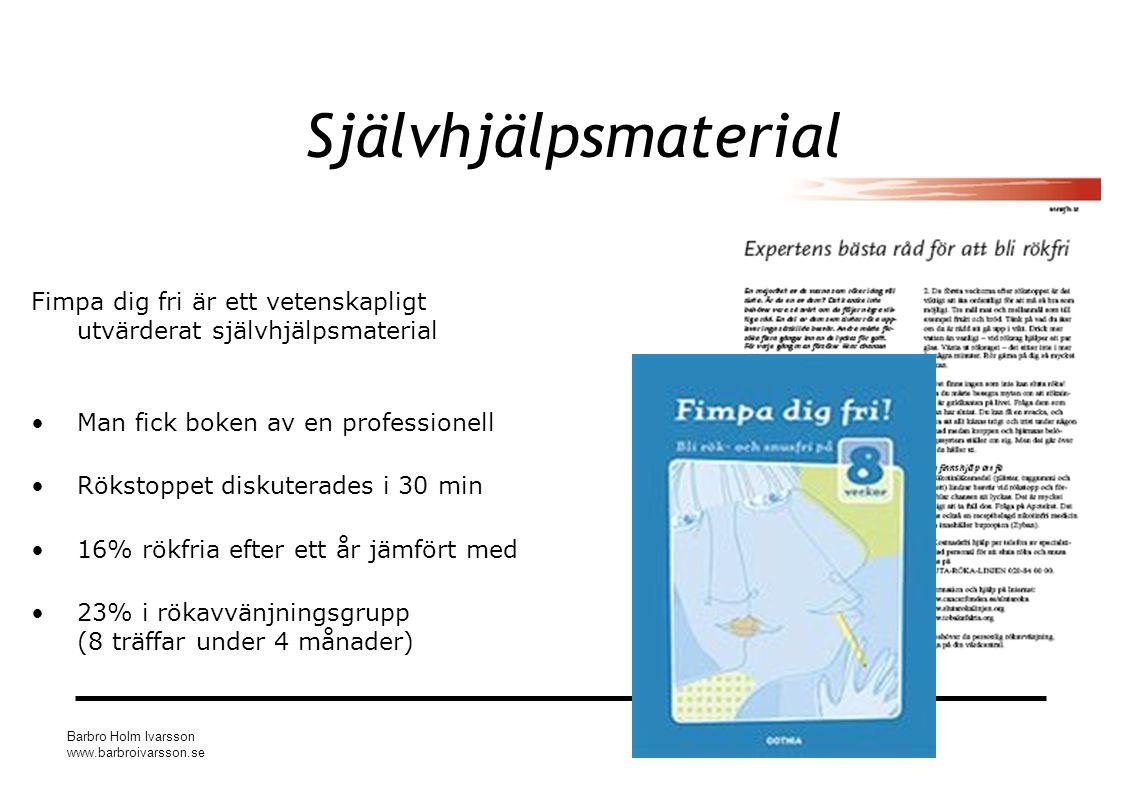 Barbro Holm Ivarsson www.barbroivarsson.se Självhjälpsmaterial Fimpa dig fri är ett vetenskapligt utvärderat självhjälpsmaterial Man fick boken av en