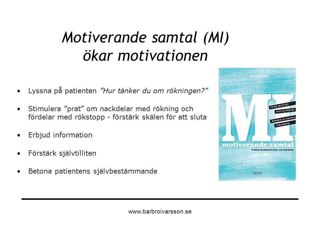 """Motiverande samtal (MI) ökar motivationen Lyssna på patienten """"Hur tänker du om rökningen?"""" Stimulera """"prat"""" om nackdelar med rökning och fördelar med"""