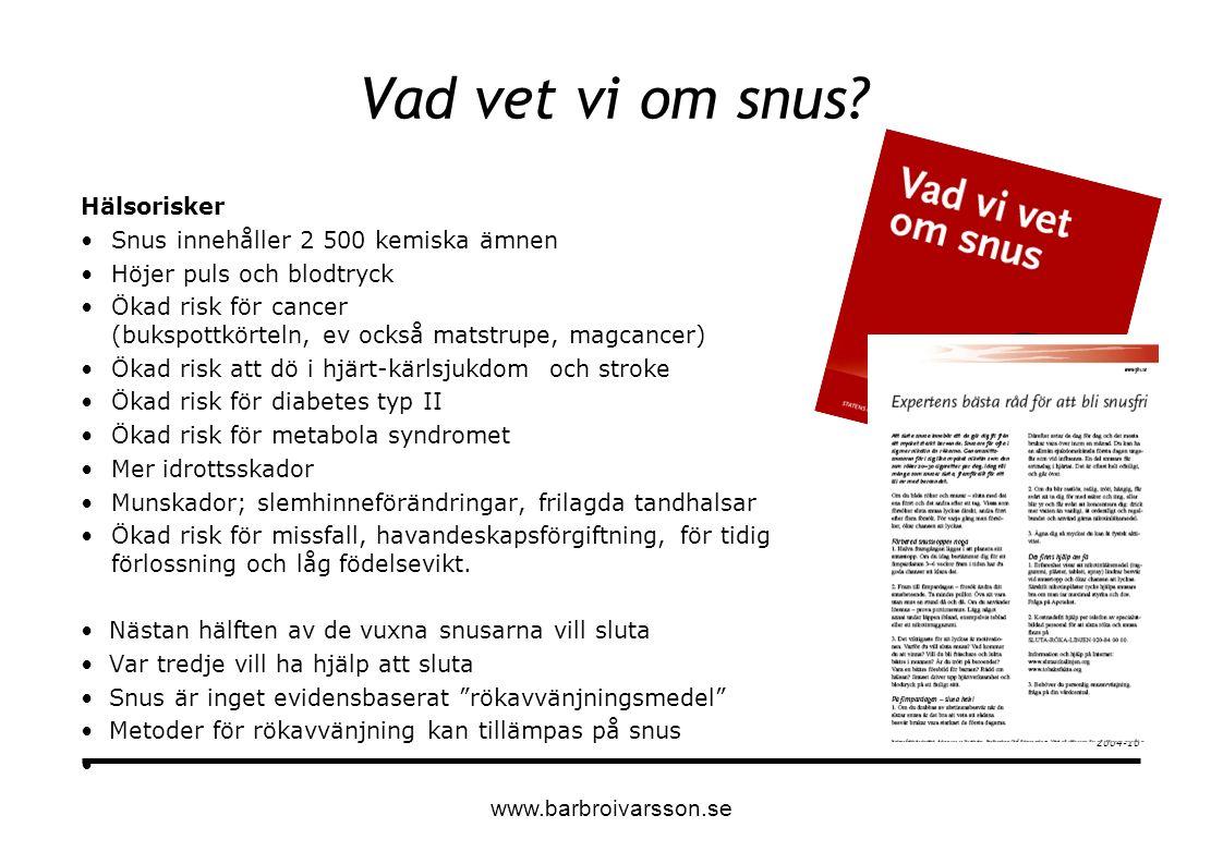 Modell för tobaksavvänjning Individuell avvänjning Gruppavvänjning Screeening 1-2 träffen kartlägga/planera 3 träffen sluta-dagen 4 träffen inom en vecka från sluta-dagen 5-8 träffen inom 8 veckor Självhjälpsmaterial =kursmaterial för Rökare och snusare Manual för tobaksavvänjaren Idébok för tobaksavvänjaren www.barbroivarsson.se