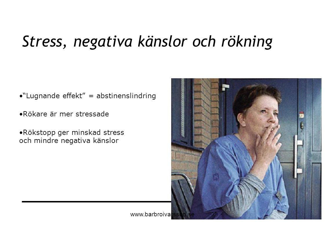 """""""Lugnande effekt"""" = abstinenslindring Rökare är mer stressade Rökstopp ger minskad stress och mindre negativa känslor Stress, negativa känslor och rök"""