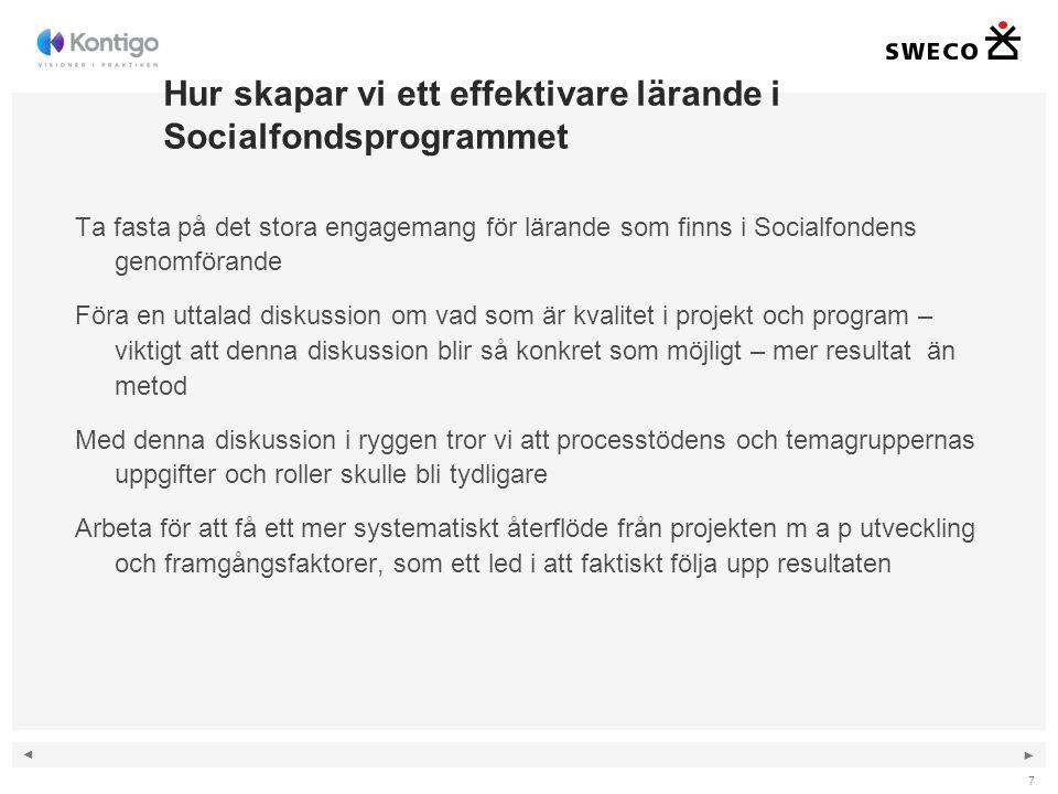 ◄ ► Hur skapar vi ett effektivare lärande i Socialfondsprogrammet Ta fasta på det stora engagemang för lärande som finns i Socialfondens genomförande