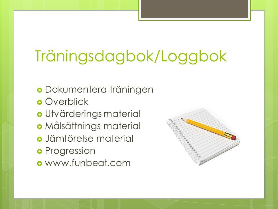 Träningsdagbok/Loggbok  Dokumentera träningen  Överblick  Utvärderings material  Målsättnings material  Jämförelse material  Progression  www.funbeat.com