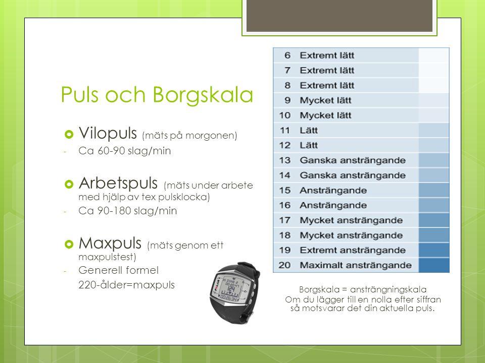 Puls och Borgskala  Vilopuls (mäts på morgonen) - Ca 60-90 slag/min  Arbetspuls (mäts under arbete med hjälp av tex pulsklocka) - Ca 90-180 slag/min  Maxpuls (mäts genom ett maxpulstest) - Generell formel 220-ålder=maxpuls Borgskala = ansträngningskala Om du lägger till en nolla efter siffran så motsvarar det din aktuella puls.