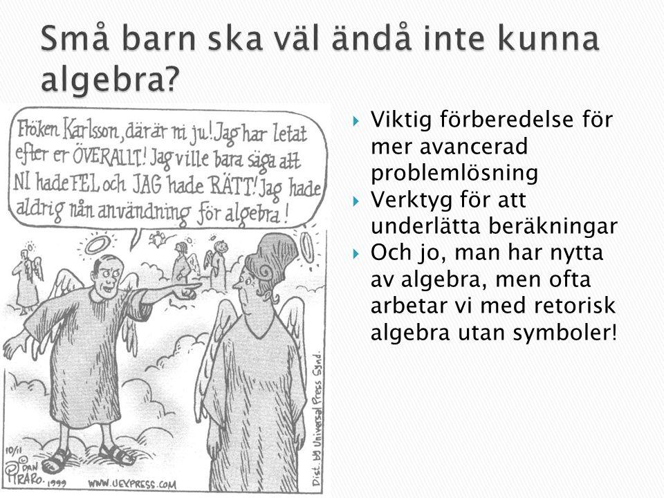  Barn och algebra  Lite historia  Vad är skolalgebra.
