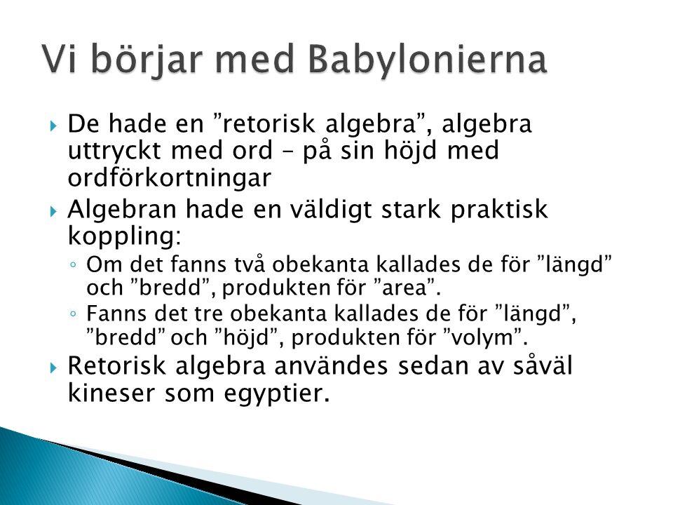  Algebran utvecklas av grekerna till synkoperad algebra , där man använde ord för att lösa uppgiften, men med speciella symboler för att minska ned på antalet ord.