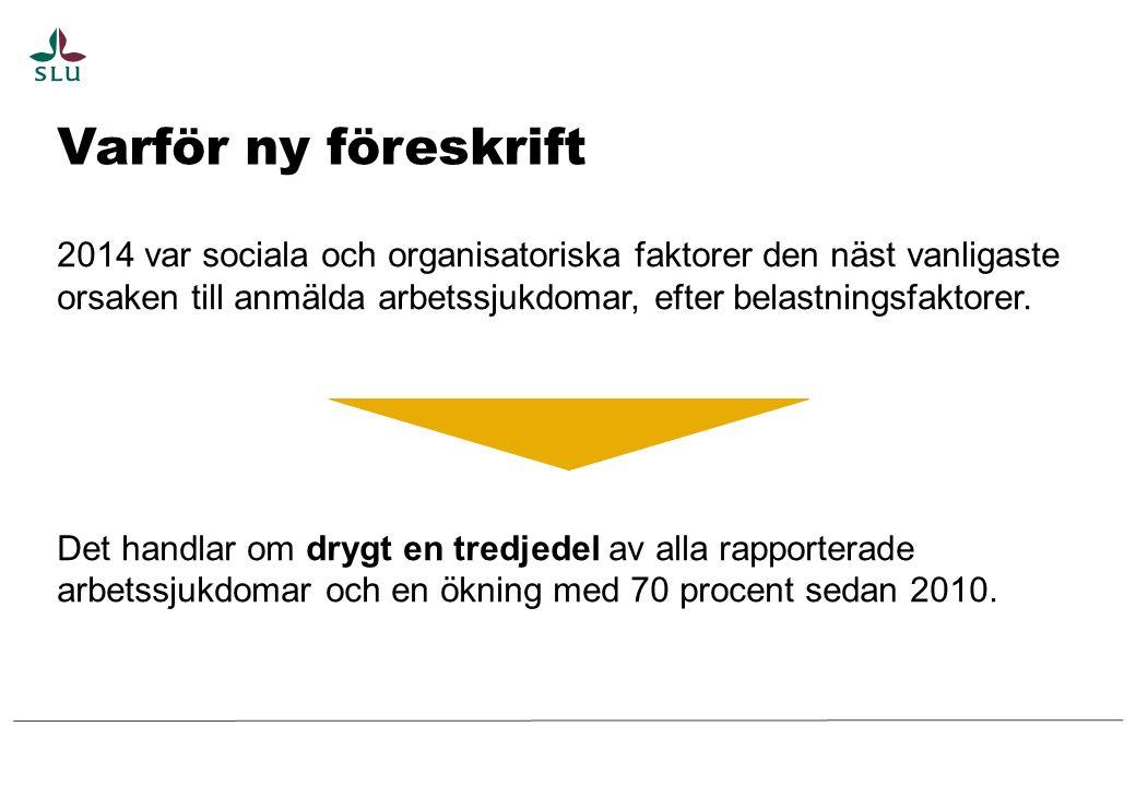 Varför ny föreskrift 2014 var sociala och organisatoriska faktorer den näst vanligaste orsaken till anmälda arbetssjukdomar, efter belastningsfaktorer.